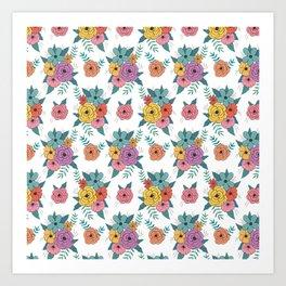 Gouache floral Art Print
