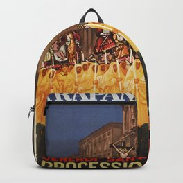 Italian travel ad Christian Easter procession Trapani Backpack