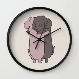 Dachshund Hugs Wall Clock