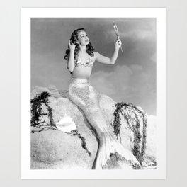 Vintage Mermaid : Mr Peabody & The Mermaid Art Print