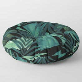Tropical Jungle Night Leaves Pattern #1 #tropical #decor #art #society6 Floor Pillow