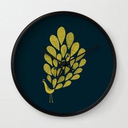 A Little Peacock Print / Golden Yellow  Wall Clock
