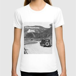 Old Hollywood sign Hollywoodland black and white photograph T-shirt
