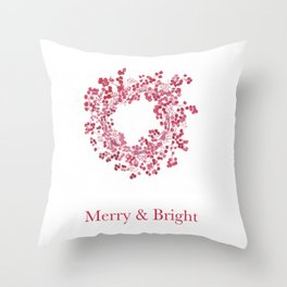 Red Merry & Bright Christmas Berry Wreath Watercolour Throw Pillow