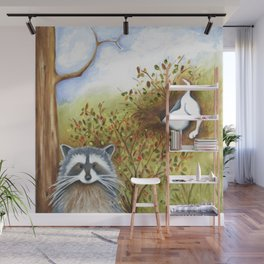 Silly Dog  Jack Russell Terrier, Raccoon, Landscape Painting, Original Art Wall Mural