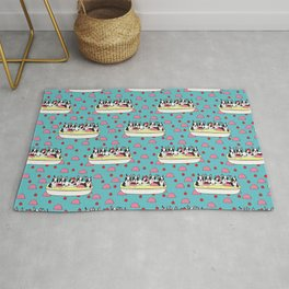 Banana Split Boston Pups with Cherries and Ice Cream Scoops Rug