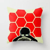 evangelion Throw Pillows featuring Gendo Ikari from Evangelion. Super Dad. by Barrett Biggers