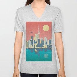 Toronto City Skyline Art Illustration - Cindy Rose Studio Unisex V-Neck