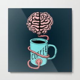 Coffee for the brain. Funny coffee illustration Metal Print