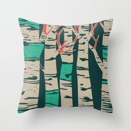 Whimsical Birch Forest Landscape Wall Art Throw Pillow