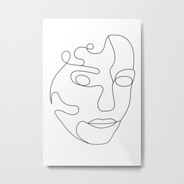 Minimal Lined Face v1 Metal Print
