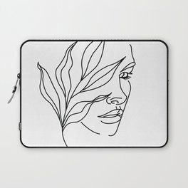 Abstract face with flowers line drawing. Portrait minimalistic style Laptop Sleeve