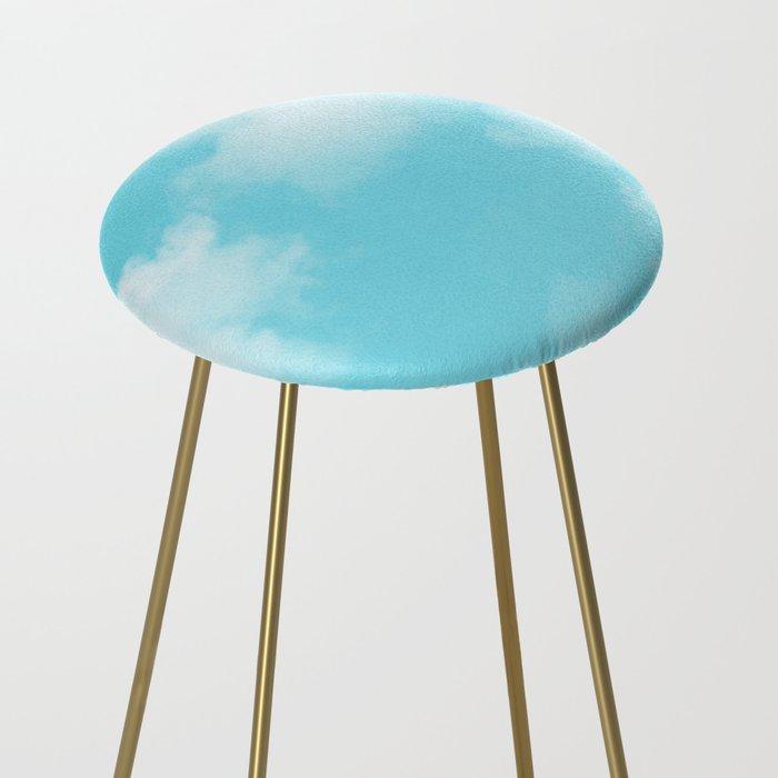 Aqua Blue Clouds Counter Stool