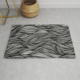 Black and White Flowing Lines Rug