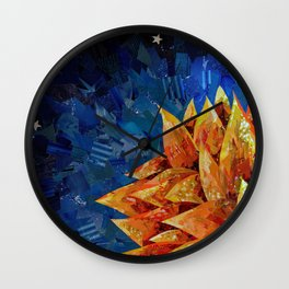 Star Bloom Collage Wall Clock