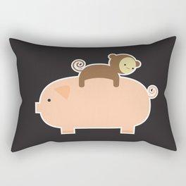 Baby Monkey (Black Bg) Rectangular Pillow