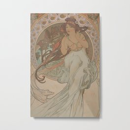 Alfons Mucha - Allegory of Music, from the series The Arts (1898) Metal Print