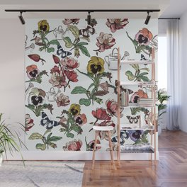 Violets garden. Vintage nostalgia Wall Mural