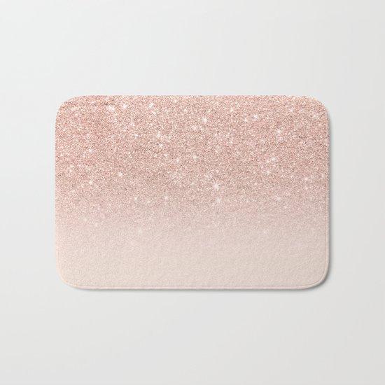 Rose gold faux glitter pink ombre color block Bath Mat