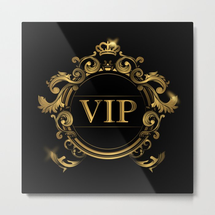 VIP In Black and Goldtone Metal Print