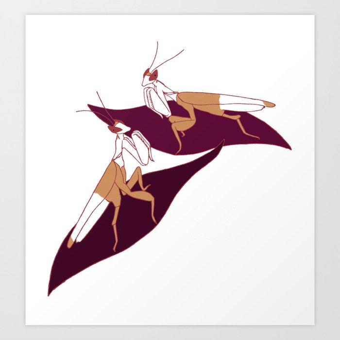 Orchid Mantids Art Print