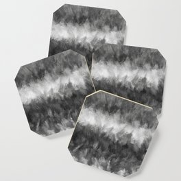 Gray White Feather Brush Abstract Coaster