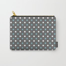Grey white blue polka dot pattern Carry-All Pouch