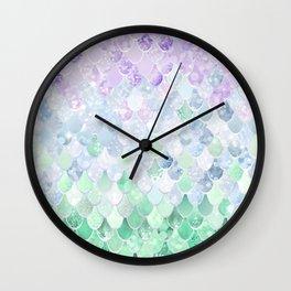 Mermaid Pattern, Lavender, Purple, Mint, Green Wall Clock