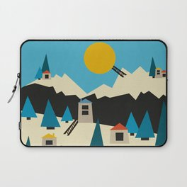 A Sunny Winter Day in the Mountain Village Laptop Sleeve