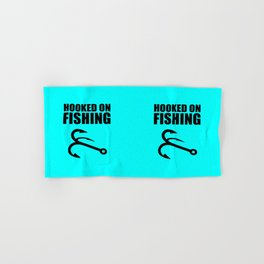 Hooked on fishing sports logo Hand & Bath Towel
