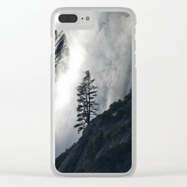 Pine Tree against Water Fall Clear iPhone Case