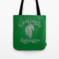 gondor Tote Bags featuring Eorlingas Rohirrim by CarloJ1956