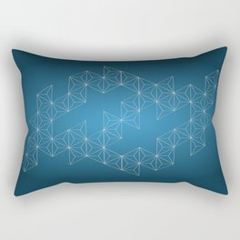 White abstract geometric triangle pattern on blue background. Rectangular Pillow