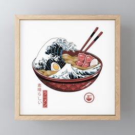 Great Ramen Wave White Framed Mini Art Print