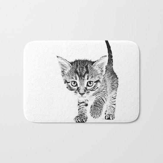 Kitten Sketch Bath Mat