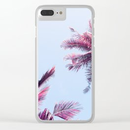Pink Coco Palm Trees on Blue Sky Tropical Summer Poster Clear iPhone Case