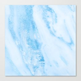 Shimmery Blue Clouds Marble Metallic Canvas Print