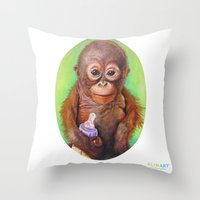budi Throw Pillows featuring Budi the Rescued Baby Orangutan by Alina Bachmann