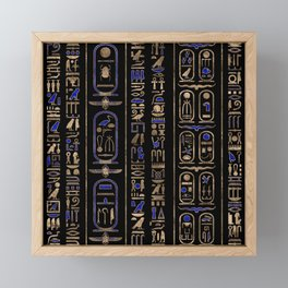 Egyptian hieroglyphs pattern Gold Lapis Lazuli #2 Framed Mini Art Print