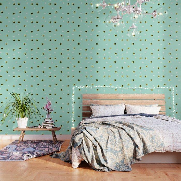 Bees and daisies Wallpaper
