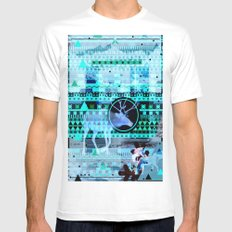 Christmas Reindeer Collage MEDIUM Mens Fitted Tee White