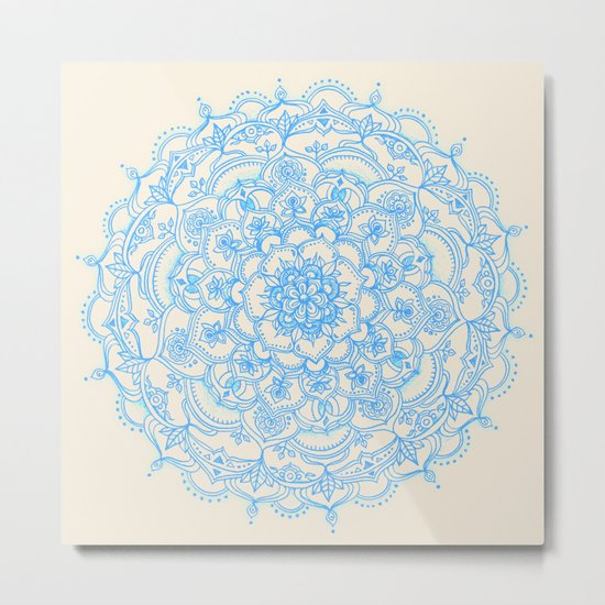 Pale Blue Pencil Pattern - hand drawn lace mandala Metal Print