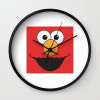 elmo Wall Clocks featuring Sesame Street Elmo by Jconner