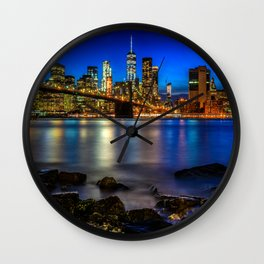 Manhattan Skyline and Brooklyn Bridge Wall Clock