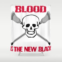 Lacrosse Blood is the New Black Shower Curtain