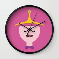 princess bubblegum Wall Clocks featuring Princess Bubblegum by dudsbessa