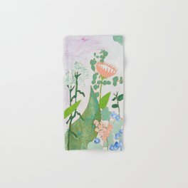 Multi Floral Painting on Pink and White Background Hand & Bath Towel