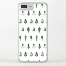 Hand drawn forest green trees Clear iPhone Case