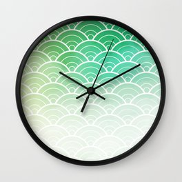 Green Ombre Japanese Waves Pattern Wall Clock