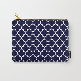 White Moroccan Quatrefoil On Navy Blue Carry-All Pouch
